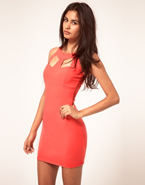 Lipsy | Lipsy Bodycon Neon Dress With Cut Out Detail at ASOS
