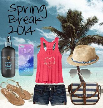 shorts spring break 2014 top hat jeans phone case shades sun glasses surf spray cross shoulder bag phone cover