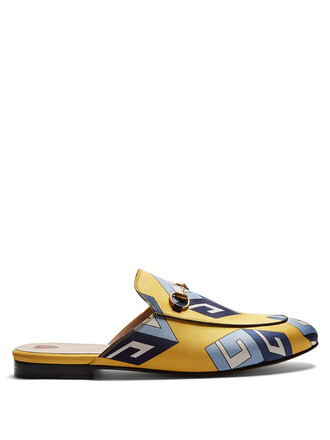 loafers print satin yellow shoes