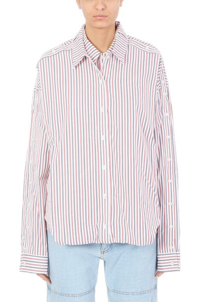 shirt striped shirt oversized red top
