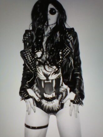 swimwear lion perfecto spiked leather jacket jewels jacket animal face print