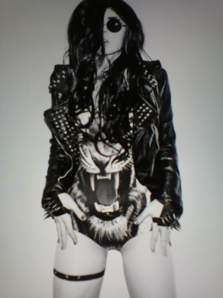 jacket leather black perfecto swimwear lion spiked leather jacket jewels