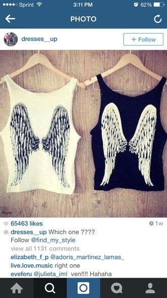 tank top black white black shirt white t-shirt white crop tops white top white shirt black t-shirt black crop top wings