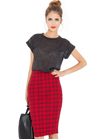 Heavy Jersey Tartan Print Pencil Skirt
