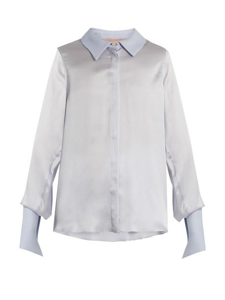 blouse silk light blue light blue top
