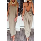 backless dress,backless,draped,summer dress,taupe,maxi dress,dress,summer,maxi,long dress,open back,cool,spring,rose wholesale-feb
