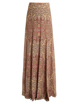 skirt print silk paisley pink