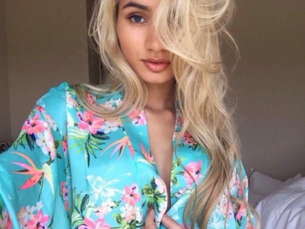 pajamas pia mia perez blue kimono pajamas aqua