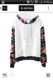 sweater,jacket,flowers,fashion,style,floral,white,cotton,coat,white top,floral shirt,warm sweater,black,pink,red,sports sweater,floral hoodie,floral sweatshirt,bernard lafond,hooded sweatshirt,hooded sweater,floral sweater,hoodie,swearshirt,white sweater,white with floral,top,amazing,instagram,pinterest,cool,raglan,jumper,cute,kawaii,girly,casual,fall outfits,warm,cozy,winter outfits,pullover,long sleeves,trendy,Floral Printed Long Sleeve Hooded Pullover Sweatshirt,harajuku,girl,girly wishlist