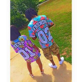 shirt bestfriend shirt spongebob shoes jersey baseball jersey bff matching set matching couples patrick number top coloful  baseball jersey