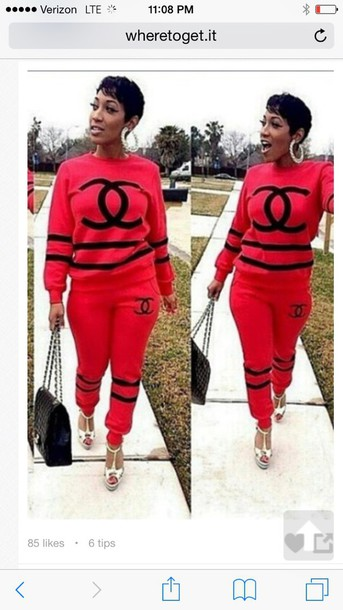 jumpsuit red and black