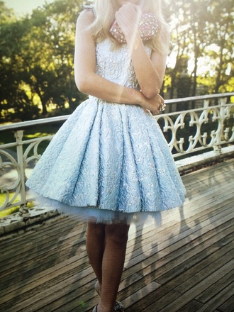 tulle skirt short prom dress blue dress bridesmaid