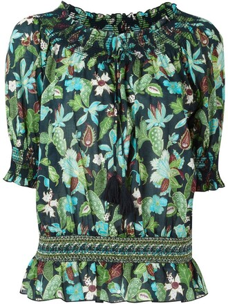 blouse print blue top