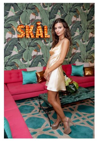 dress emily ratajkowski mini dress satin dress sandals platform sandals backless dress shoes slip dress cream dress nude slip dress yellow slip dress
