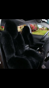 home accessory,car seat covers,black,fur