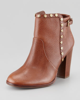 Tory Burch | Mae Logo-Studded Ankle Boot, Almond - CUSP