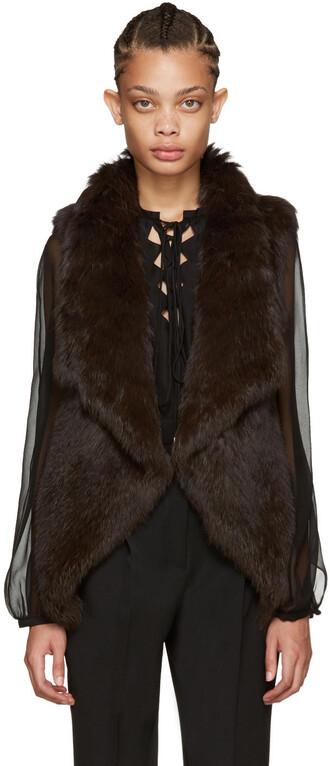 vest fur vest knit fur brown jacket