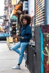 jacket,tumblr,blue jacket,bomber jacket,denim,jeans,blue jeans,sneakers,white sneakers