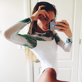 tank top tropical mesh long sleeves white bodysuit blouse bodystocking luxury body party top green palm tree print leotard swimwear one-piece swimwear one piece swimsuit white swimwear