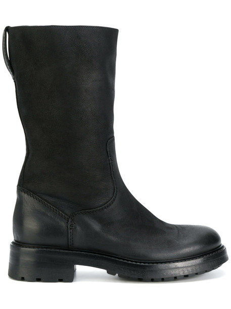 STRATEGIA biker boots women leather black shoes