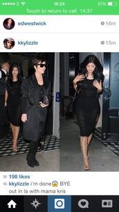 dress,black,midi dress,sleeveless dress,kylie jenner dress