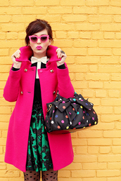 keiko lynn,coat,t-shirt,skirt,retro,pink coat,pink lipstick,pink sunglasses
