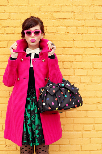 keiko lynn coat t-shirt skirt retro pink coat pink lipstick pink sunglasses