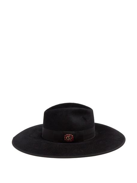 fur embellished hat felt hat black