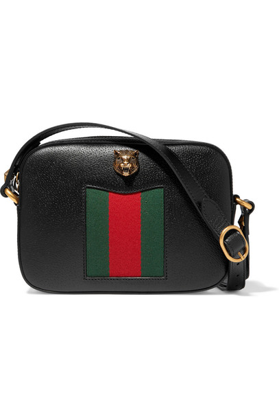 b73564d4fa9673 Gucci Animalier Disco Canvas-Paneled Textured-Leather Shoulder Bag in black