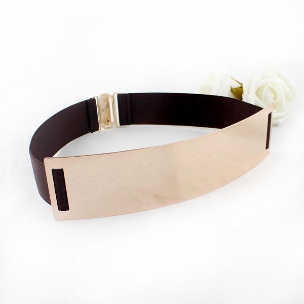 Coffee Elastic Contrast Metal Wide Belt - Sheinside.com