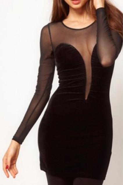 Mesh panel transparent black slim dress, the latest street fashion