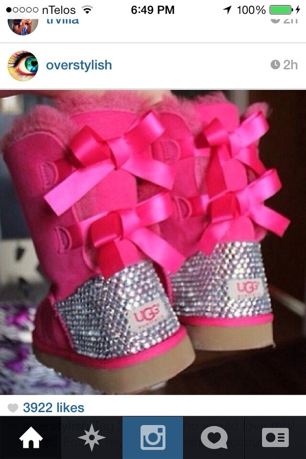 shoes ugg boots pink bows boots bling sparkle