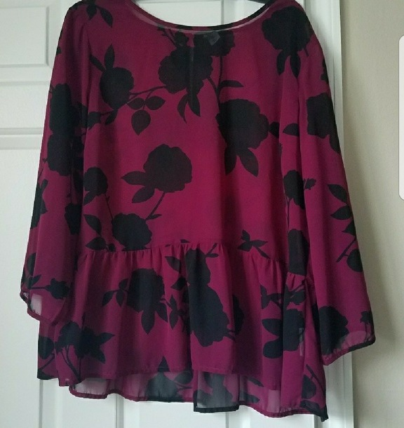 blouse magenta red black rose old navy