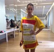 dress,bella hadid,top,t-shirt,milan fashion week 2016,moschino,yellow,oversized t-shirt