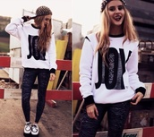 sweater,white,white sweater,black and white,black lettering,joy,hat,snapback,jeans,clothes