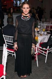 jewels,necklace,olivia palermo,skirt,maxi skirt,black,blouse
