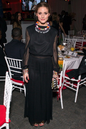 jewels necklace olivia palermo skirt maxi skirt black blouse