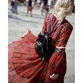 bag tumblr backpack black backpack pattern red dress long sleeves long sleeve dress flowy flowy dress mini backpack