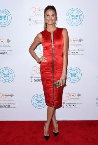 dress zip red dress red stacy keibler pumps midi dress