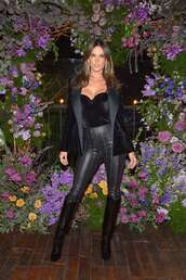 top,all black everything,alessandra ambrosio,velvet,velvet top,bustier,boots,model off-duty