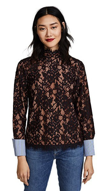 Scotch & Soda/Maison Scotch top lace top high high neck lace