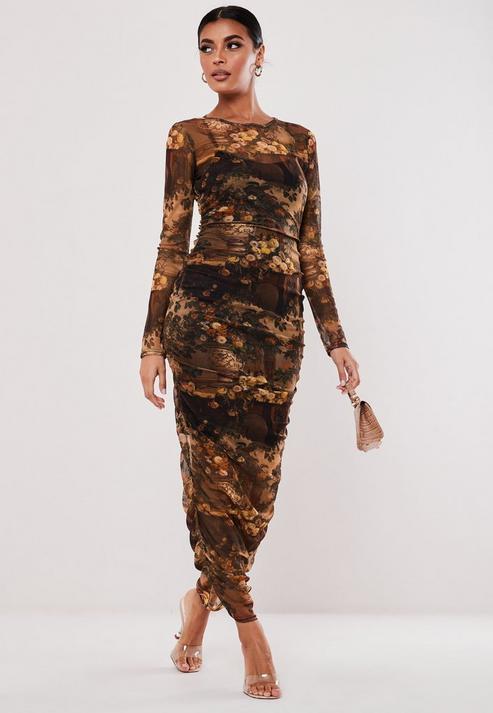 Brown Dark Floral Print Ruched Mesh Maxi Dress
