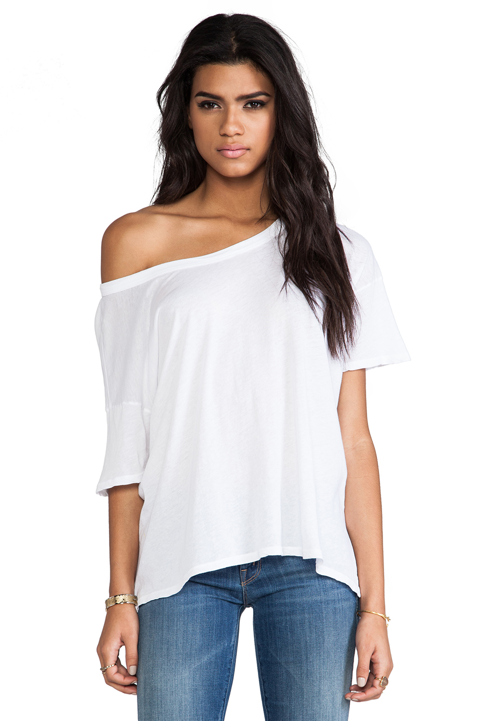 Enza Costa Tissue Jersey Drop Shoulder Short Sleeve in White from REVOLVEclothing.com