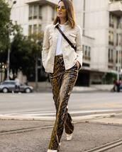 pants,snake print,high waisted pants,boots,jacket,denim jacket,white t-shirt,sunglasses,crossbody bag