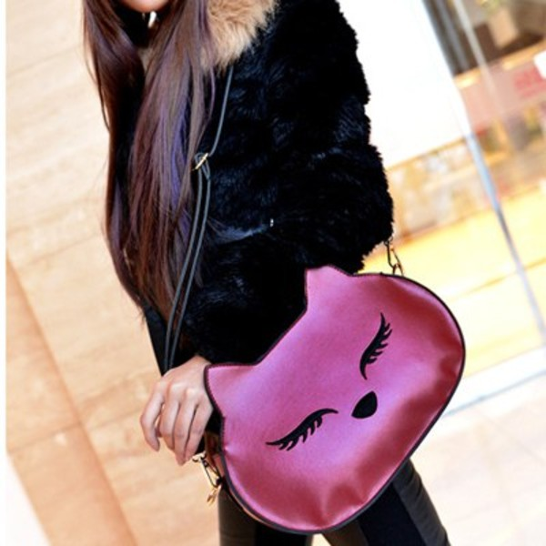 bag meow pink cute cats girly