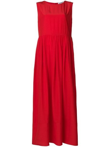 Jil Sander dress maxi dress maxi oversized women silk red