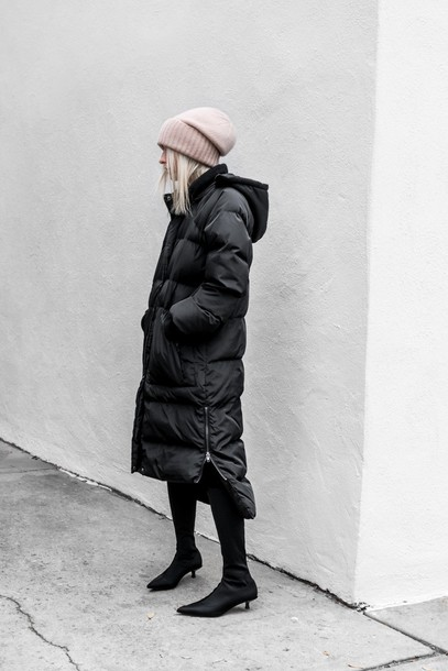 coat tumblr black coat beanie pink beanie winter coat boots black boots