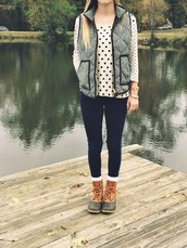 sweater,vest,shirt,shoes,fall outfits,preppy vest,preppy,jewelry,boots,duck boots,jacket,black and white polka dot,coat