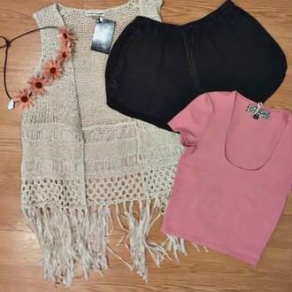 cardigan double zero fringe vest fringe vest knit vest