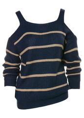 sweater,navy,tan,stripes,cold shoulder